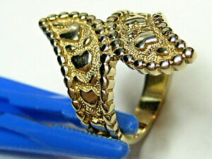 """10K Yellow  Gold """"Fancy"""" Heart Decorated Ring -- Size 7 and weighs 6.71 grams"""