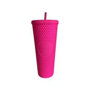2021 NEW Diamond Matte Barbie Pink Studded Tumbler Straw Cup 710ml/24oz