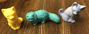 3 Vintage RUSS & Unbranded Cat Kitty Erasers