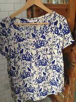 Paul and Joe Sister Blue and White Cat Print 100% Silk Short Sleeve Top, FR2/USM