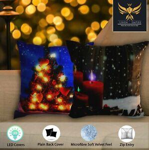 Christmas LED Light up Festive Square Home Car Cushion Covers UK