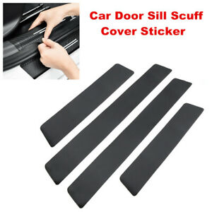 4PCS Carbon Fiber Car Door Plate Sill Scuff Cover Anti Scratch Sticker Universal