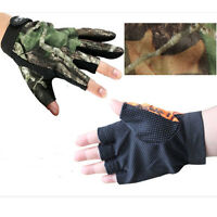 1 Pair Waterproof Anti-slip Gloves 3 Cut Fingers For Fishing Hunting Shooting