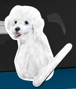 Bichon Frise Dog Rear Car Window Sticker With Wagging Tail To Fit On Wiper Arm