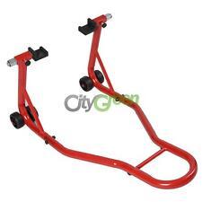 Red Motorcycle Paddock Stand Rear Bike Work Wheel Lift
