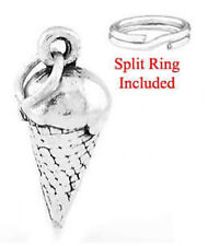 "STERLING SILVER ""ICE CREAM CONE"" CHARM WITH SPLIT RING"