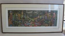 "Large 38.5"" ENRICO BAJ Signed & Numbered Lithograph  ""La Grande Jatte""  c. 1980"