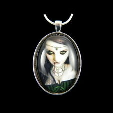"LADY HELLEN Gothic Fantasy Art Silver Plated Pendant & 18"" Chain By Michele Ann"