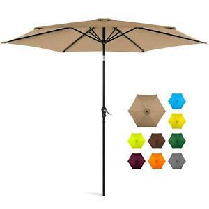 New 10ft Outdoor Steel Market Patio Umbrella w/ Crank, Tilt Multiple Colors