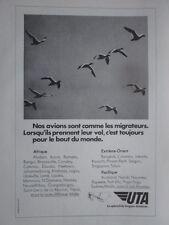 1974-5 PUB UTA AIRLINE OISEAU MIGRATEUR MIGRATION CANARD DUCK ORIGINAL FRENCH AD