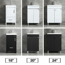 "18""/20""/24"" Bathroom Vanity Cabinet Undermount Resin Sink Faucet White/Black"