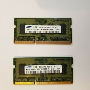 2GB 2 X 1 GB Samsung PC3-8500 (DDR3-1066) SO-DIMM 1066 MHz PC3-8500 DDR3 Memory
