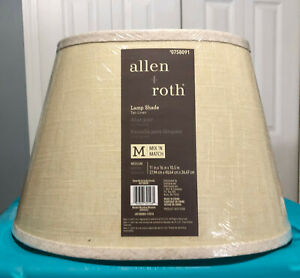 allen + roth  10.5-in x 16-in Tan Linen Fabric Oval Drum Lamp Shade Medium