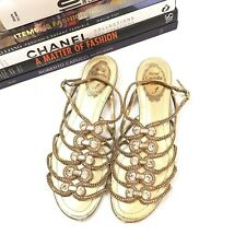 Rene Caovilla Sandals 37 Gold Beaded Crystal Jewel Caged Gladiator Flats Shoes
