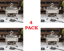4 Pack Stainless Steel Choice Classic Buffet Catering 4 Qt Half Size Chafer Dish