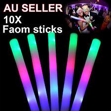 10x LED Foam Sticks RGB Thunder 48cm Glow Stick Flashing Light Rave Party Cheer
