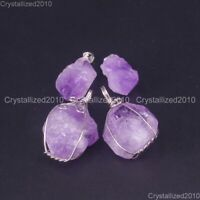 Natural Lavender Amethyst Gemstones Healing Beads Nugget Pendant Charm Beads
