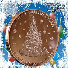 RARE - Christmas TREE Design 1oz .999 Copper round Limited and Rare AOCS