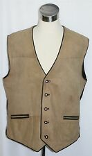 "TRACHTEN Men LEATHER Waist VEST Jacket Hunting Western German COAT Eu 56 C49"" XL"