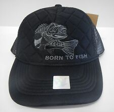 cbe6e30644e Ace Cap Black Diamond Stitch Adjustable Snapback Trucker Truck Hat BORN TO  FISH