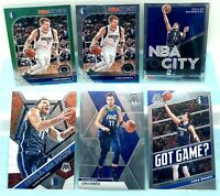 Luka Doncic Lot Of 6 Hoops Premium Green Prizm, Base & Mosaic Will To Win, Base