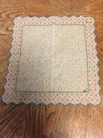 Ladies Handkerchief Hanky Vintage Switzerland NEW Hoefgen Embroidered Scalloped