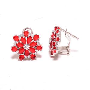 "Ruby & White Topaz 925 Sterling Silver Earring Handmade Jewelry 0.75"" S1926"