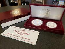 1986 Marshall Islands .999 Silver Proof 2 Coin Set 1 oz & 1/2 oz Box & Coa