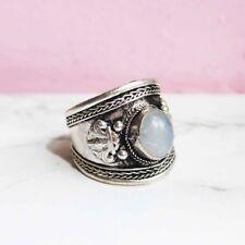 Tibetan Silver Quartz Gemstone Opal Amulet Inlaid Ring. Boho/hippy/gypsy/vintage