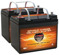 2 Invacare Excel VMAX857 12V 35Ah Group U1 AGM Deep Cycle Scooter Battery