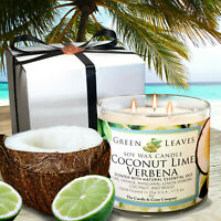 Handmade Coconut Lime Verbena 3 Wick Soy Wax Candle 17.5oz. Smells Amazing!