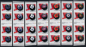 Canada 2662i-8i Coil Inscription Strips MNH Sports, Ice Hockey, NHL Team Logos