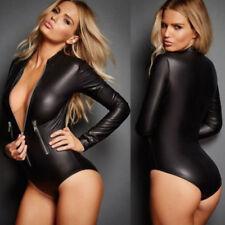 Womens Catsuit Lingerie Wetlook Shiny PU Leather Bodysuit Clubwear Jumpsuit Zip