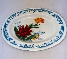"""Vtg Graniteware BUMPER HARVEST Red Orange Flowers Blue Enamel Oval Platter 12"""""""