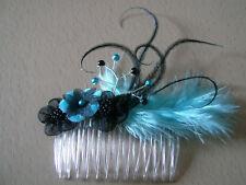 Accessoire de cheveux peigne robe de Mariée/Mariage/Soirée Bleu Turquoise/Noir