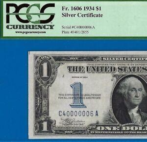1934 $1 S/C (( Fancy Serial Number 40000006 )) PCGS Gem 65PPQ # C40000006A-