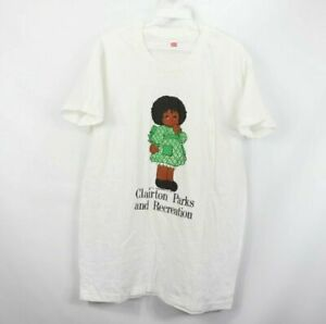 Vintage 70s Hanes Mens Large 1974 Clairton Parks and Recreation Thin Doll Shirt