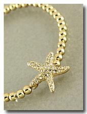 Starfish Bracelet Stretch Ball Bead Pave Rhinestone Beach Jewelry Sea Life Gold