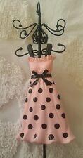 Vanity Jewelry Doll Stand Pink w/black dots Dress Organizer Storage hanging