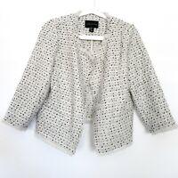 Adrienne Vittadini Tweed Blazer Womens Size Medium Black White Open Front Fray