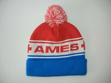 AMES BROS Blue/Red Warm WINTER BEANIE Ski Patrol Hat Snowboard Pom Cap ONE SIZE