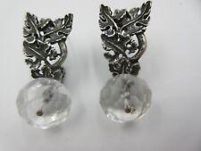 Silver Crystal Earrings Vintage Acanthus Sterling