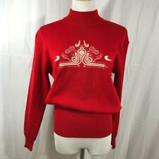 Bogner Womens $300 Wool Blend Embroidered Ski Sweater Red Sz L