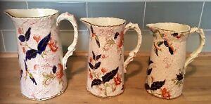 Set Of 3 Graduated Ceramic Staffordshire Jugs Floral / Bird