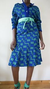 Unbranded ladies two piece suit blue and green blazer skirt vintage size 12