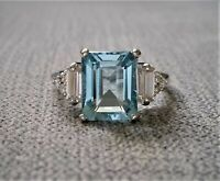 3Ct Emerald Cut Aquamarine Diamond Solitaire Engagement Ring 14k White Gold Over