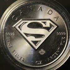 "2016 1 Oz Canada Silver 5$ Coin ""SuperMan"" in Capsule"