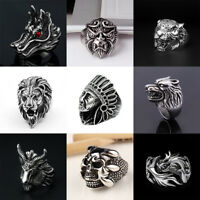 Vintage Animal Stainless Steel Large Apache Indian Chief Head Shield Biker Ring