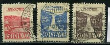 1946 Colombia 15c, 30c & 60c Aereo stamps Tequendama Waterfall used
