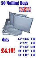 50 Mixed Mailing Bags Strong Grey Plastic Poly Postal Envelopes Self Seal A10 CS